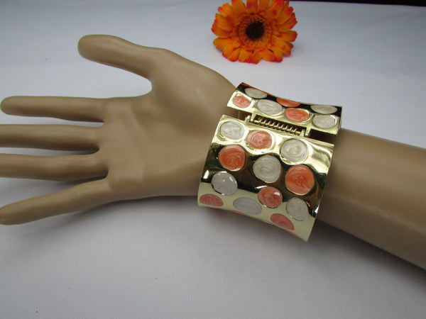 Gold Metal Wide Cuff Bracelet Claws White Peach Polka Dots New Women Fashion Jewelry Accessories - alwaystyle4you - 9