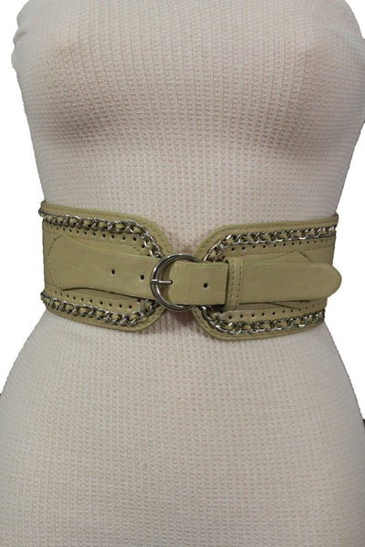 White / Beige / Black Faux Leather Elastic Bend Hip Wide Belt Silver Metal Chain Big Buckle New Women Fashion S M - alwaystyle4you - 8