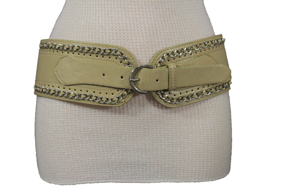 White / Beige / Black Faux Leather Elastic Bend Hip Wide Belt Silver Metal Chain Big Buckle New Women Fashion S M - alwaystyle4you - 12