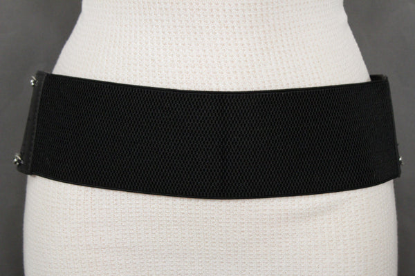 White / Beige / Black Faux Leather Elastic Bend Hip Wide Belt Silver Metal Chain Big Buckle New Women Fashion S M - alwaystyle4you - 24