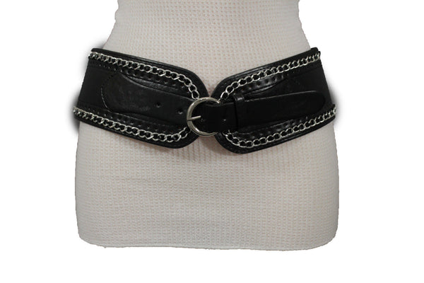 White / Beige / Black Faux Leather Elastic Bend Hip Wide Belt Silver Metal Chain Big Buckle New Women Fashion S M - alwaystyle4you - 23