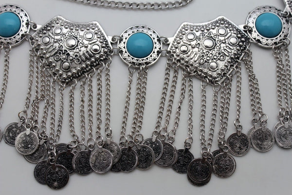 Silver Metal Chains Blue Beads Multi Coins Belt Ethnic Moroccan New Women Accessories S M