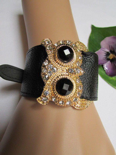 Aqua Blue / Pink / Light Pink / Black Faux Leather Strap Nude Bracelet Gold Metal Owl Head Black Rhinestone Fashion New Women Jewelry Accessories - alwaystyle4you - 38