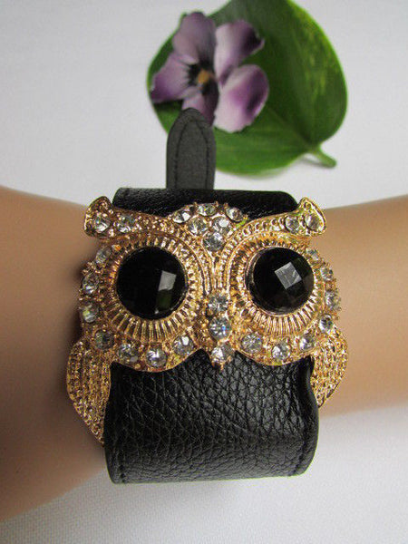 Aqua Blue / Pink / Light Pink / Black Faux Leather Strap Nude Bracelet Gold Metal Owl Head Black Rhinestone Fashion New Women Jewelry Accessories - alwaystyle4you - 39