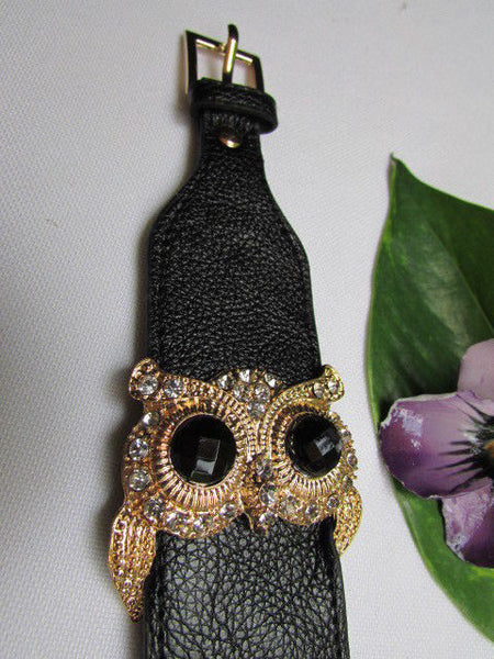Aqua Blue / Pink / Light Pink / Black Faux Leather Strap Nude Bracelet Gold Metal Owl Head Black Rhinestone Fashion New Women Jewelry Accessories - alwaystyle4you - 41