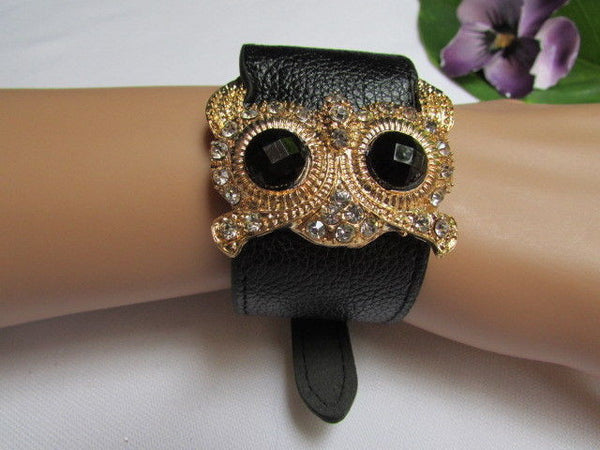 Aqua Blue / Pink / Light Pink / Black Faux Leather Strap Nude Bracelet Gold Metal Owl Head Black Rhinestone Fashion New Women Jewelry Accessories - alwaystyle4you - 5