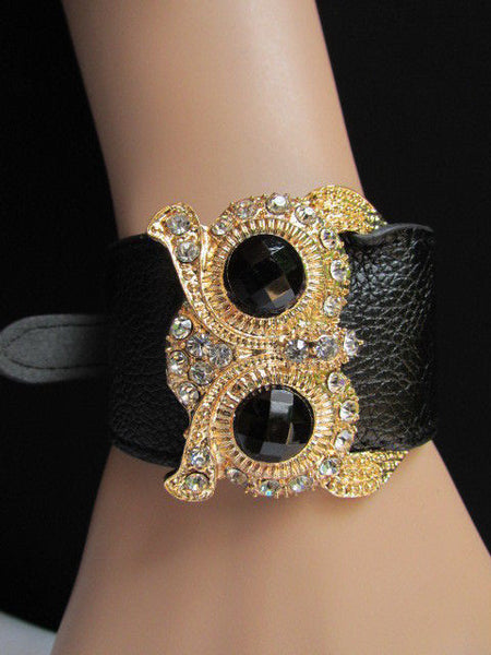 Aqua Blue / Pink / Light Pink / Black Faux Leather Strap Nude Bracelet Gold Metal Owl Head Black Rhinestone Fashion New Women Jewelry Accessories - alwaystyle4you - 35