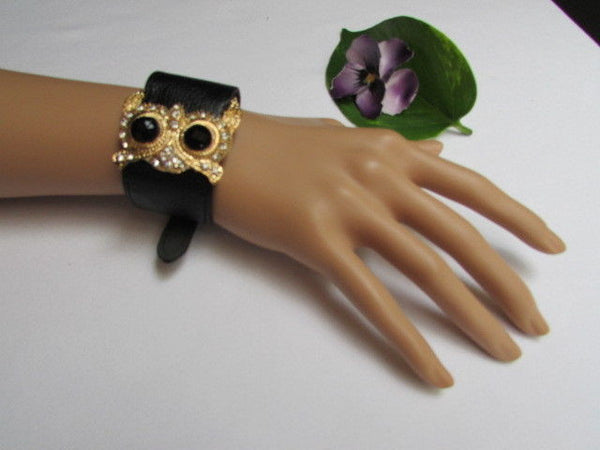 Aqua Blue / Pink / Light Pink / Black Faux Leather Strap Nude Bracelet Gold Metal Owl Head Black Rhinestone Fashion New Women Jewelry Accessories - alwaystyle4you - 36