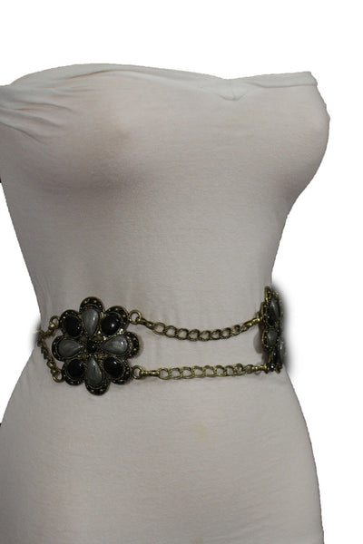Antique Gold Two Rows Wide Chains Hip High Waist Belt Big Brown / Red / Black / Blue Beads Stone Flower Charm New Women Fashion Accessories S M L - alwaystyle4you - 14