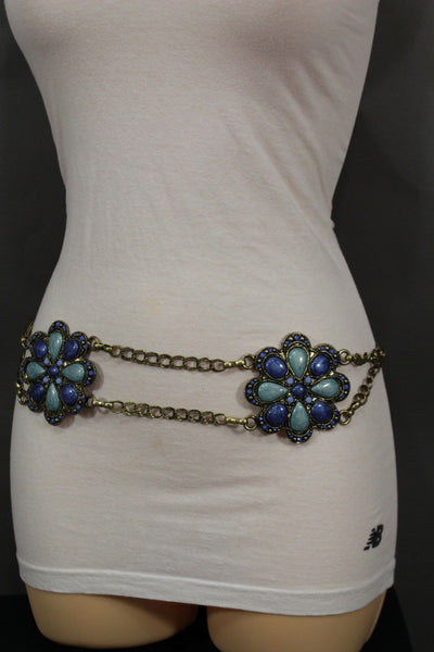 Antique Gold Two Rows Wide Chains Hip High Waist Belt Big Brown / Red / Black / Blue Beads Stone Flower Charm New Women Fashion Accessories S M L - alwaystyle4you - 19