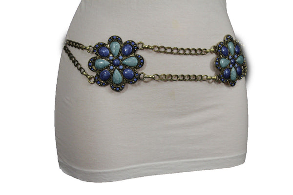 Antique Gold Two Rows Wide Chains Hip High Waist Belt Big Brown / Red / Black / Blue Beads Stone Flower Charm New Women Fashion Accessories S M L - alwaystyle4you - 26