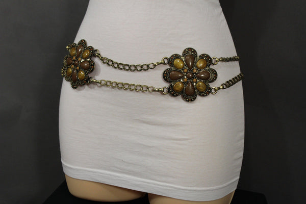 Antique Gold Two Rows Wide Chains Hip High Waist Belt Big Brown / Red / Black / Blue Beads Stone Flower Charm New Women Fashion Accessories S M L - alwaystyle4you - 37