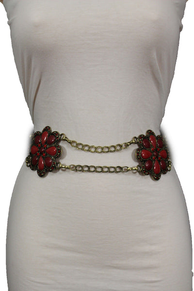 Antique Gold Two Rows Wide Chains Hip High Waist Belt Big Brown / Red / Black / Blue Beads Stone Flower Charm New Women Fashion Accessories S M L - alwaystyle4you - 39