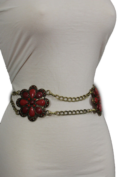 Antique Gold Two Rows Wide Chains Hip High Waist Belt Big Brown / Red / Black / Blue Beads Stone Flower Charm New Women Fashion Accessories S M L - alwaystyle4you - 40