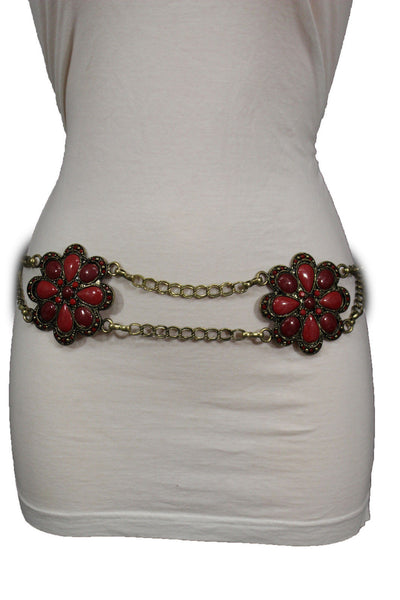 Antique Gold Two Rows Wide Chains Hip High Waist Belt Big Brown / Red / Black / Blue Beads Stone Flower Charm New Women Fashion Accessories S M L - alwaystyle4you - 42