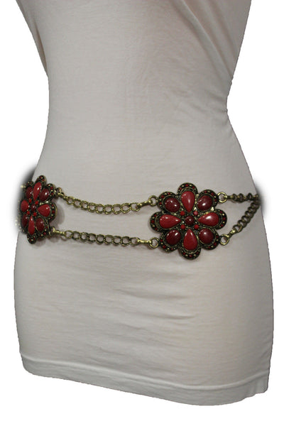 Antique Gold Two Rows Wide Chains Hip High Waist Belt Big Brown / Red / Black / Blue Beads Stone Flower Charm New Women Fashion Accessories S M L - alwaystyle4you - 48