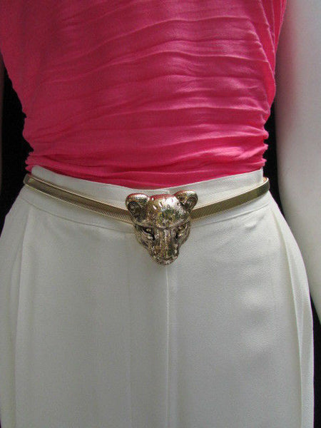 Gold Metal Elastic Narrow Hip Waist Belt Big Tiger Head Buckle New Women Fashion Accessories XS- XL - alwaystyle4you - 7