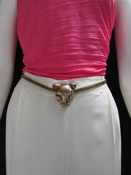 Gold Metal Elastic Narrow Hip Waist Belt Big Tiger Head Buckle New Women Fashion Accessories XS- XL - alwaystyle4you - 11