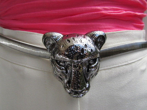 Gold Metal Elastic Narrow Hip Waist Belt Big Tiger Head Buckle New Women Fashion Accessories XS- XL - alwaystyle4you - 5