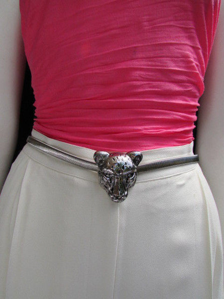 Gold Metal Elastic Narrow Hip Waist Belt Big Tiger Head Buckle New Women Fashion Accessories XS- XL - alwaystyle4you - 22