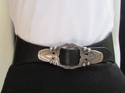 Black Faux Leather Elastic Waist Hip Belt Silver Moroccan Buckle New Women Fashion Accessories S M - alwaystyle4you - 2