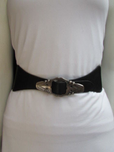 Black Faux Leather Elastic Waist Hip Belt Silver Moroccan Buckle New Women Fashion Accessories S M - alwaystyle4you - 3