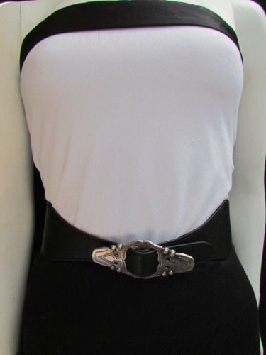 Black Faux Leather Elastic Waist Hip Belt Silver Moroccan Buckle New Women Fashion Accessories S M - alwaystyle4you - 4
