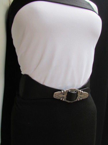 Black Faux Leather Elastic Waist Hip Belt Silver Moroccan Buckle New Women Fashion Accessories S M - alwaystyle4you - 8