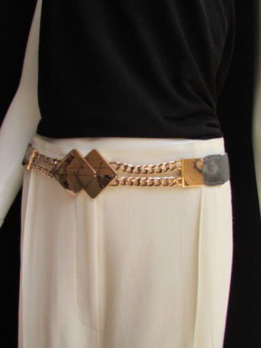 Gray / White / Black Waist Hip Stretch Back Belt Gold Chains Squares Metal Buckle New Women Fashion Accessories Size S M L - alwaystyle4you - 20