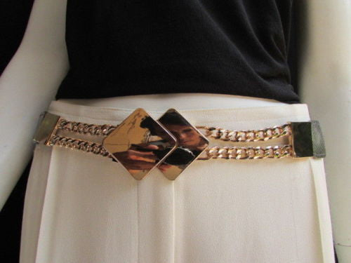 Gray / White / Black Waist Hip Stretch Back Belt Gold Chains Squares Metal Buckle New Women Fashion Accessories Size S M L - alwaystyle4you - 22