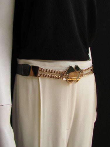 Gray / White / Black Waist Hip Stretch Back Belt Gold Chains Squares Metal Buckle New Women Fashion Accessories Size S M L - alwaystyle4you - 2