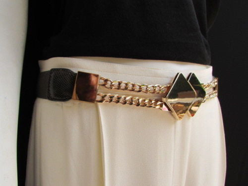 Gray / White / Black Waist Hip Stretch Back Belt Gold Chains Squares Metal Buckle New Women Fashion Accessories Size S M L - alwaystyle4you - 3