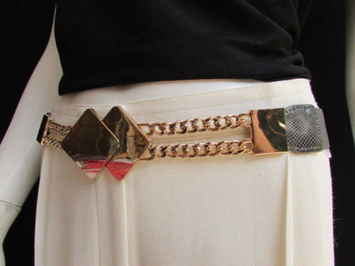Gray / White / Black Waist Hip Stretch Back Belt Gold Chains Squares Metal Buckle New Women Fashion Accessories Size S M L - alwaystyle4you - 5