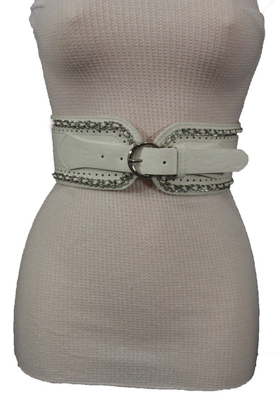White / Beige / Black Faux Leather Elastic Bend Hip Wide Belt Silver Metal Chain Big Buckle New Women Fashion S M - alwaystyle4you - 27