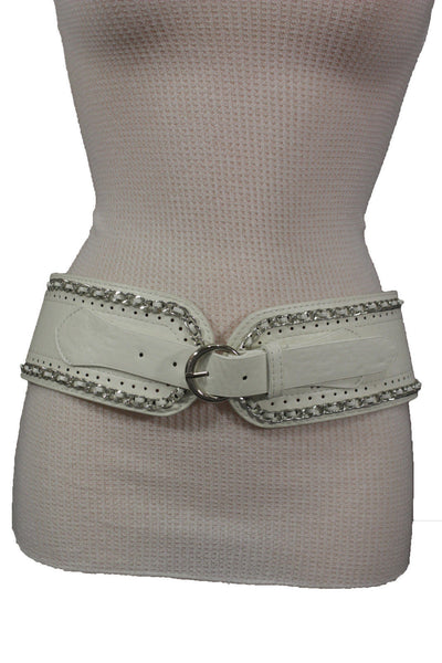 White / Beige / Black Faux Leather Elastic Bend Hip Wide Belt Silver Metal Chain Big Buckle New Women Fashion S M - alwaystyle4you - 29