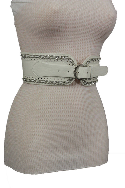 White / Beige / Black Faux Leather Elastic Bend Hip Wide Belt Silver Metal Chain Big Buckle New Women Fashion S M - alwaystyle4you - 30