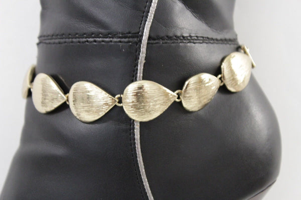 Gold Metal Boot Chain Bracelet Anklet Shoe Bling Multi Leaves Charm Nautical Women Hot Fashion