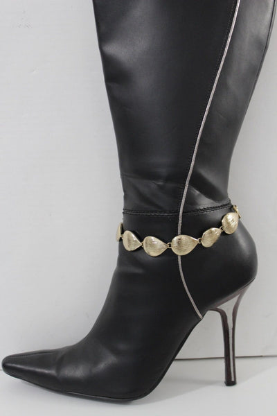 Gold Metal Boot Chain Bracelet Anklet Shoe Bling Multi Leaves Charm Nautical Women Western Hot Fashion
