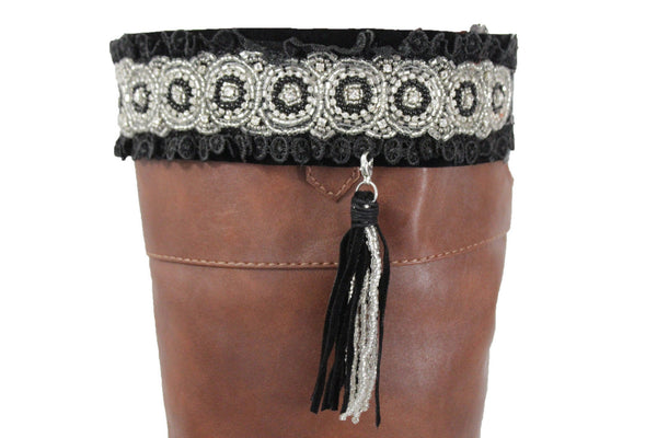 Black Silver Ethnic Toppers Lace Fringe Long Tassel Knee High Boot Women Western Accessories