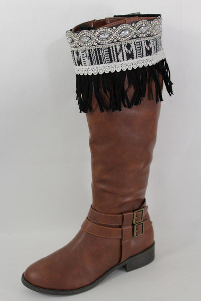 Black Faux Leather Fringes Cream Lace Rhinestone Boot Toppers Boho Women Western Accessories
