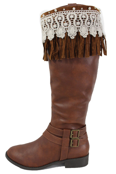 Brown Faux Leather Long Fringes Knee High Lace Boot Toppers Boho New Women Accessories