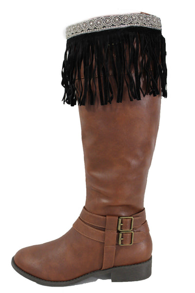 Black Faux Leather Fringes Knee High Boot Toppers Long Silver Bead Women Accessories