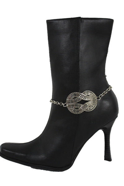 Silver Gold Metal Chain Anklet Shoe Infinity Symbol Braided Charm Boot Bracelet Women Accessories