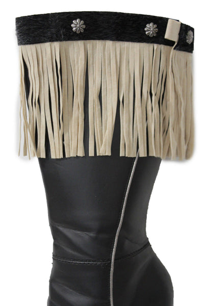 Fabric Long Faux Suede Leather Fringes Knee High Winter Boot Toppers Women Accessories