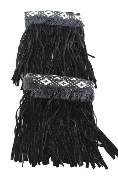 Black Fabric Long Fringe Knee High Winter Boots Toppers White Cross Western