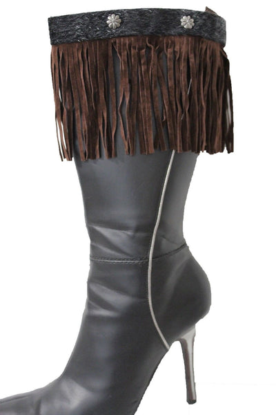 Brown Fabric Long Faux Leather Fringe Knee High Winter Boot Toppers Silver Flower Women Accessories