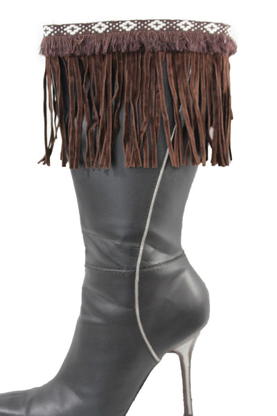 Brown Fabric Long Fringe Knee High Winter Boots Toppers White Native Cross New Women Accessories