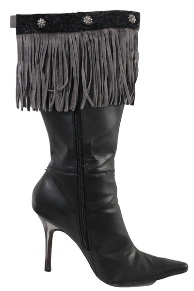Gray Fabric Long Faux Leather Fringe Knee High Winter Boot Toppers