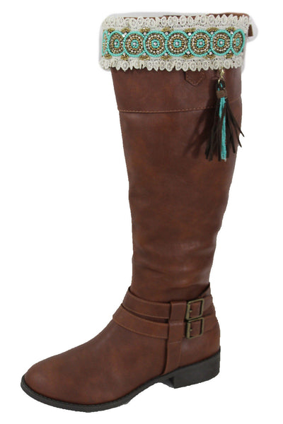 White Winter Boot Toppers Turquoise Blue Gold Bead Knee High Tassel Lace New Women Western Fashion Accessories