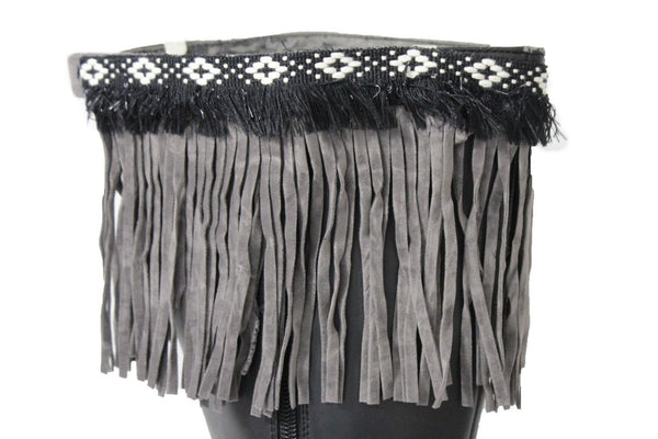 Gray Fabric Long Fringe Knee High Winter Boots Toppers White Cross Women Accessories